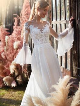 Abito da sposa scivolato in chiffon con maniche chandelier staccabili