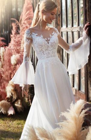 Abito da sposa scivolato componibile in chiffon e pizzo con maniche chandelier staccabili